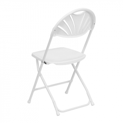 White/Chrome Fan Backed Chairs